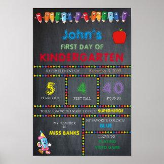 First Day in Kindergarten BOY,Small Size,Chalkboar Poster