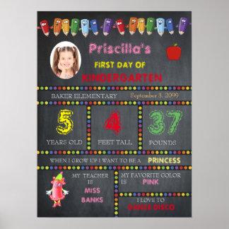First Day Kindergarten girl,chalkboard sign,photo, Poster