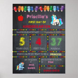 First Day Kindergarten girl,chalkboard sign Poster
