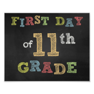 First day of 11th Clay Sign - Chalkboard