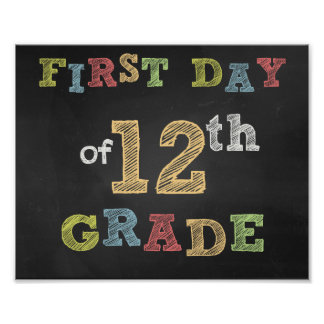 First day of 12th Clay Sign - Chalkboard