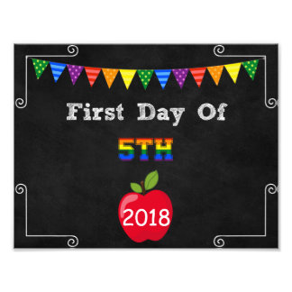 First Day of 5th Grade Editable Sign