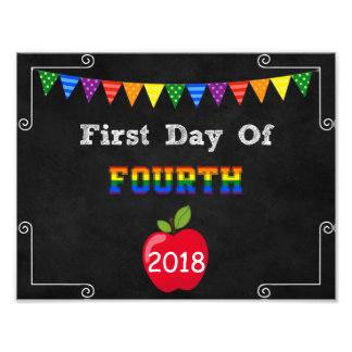 First Day of Fourth Grade Editable Sign