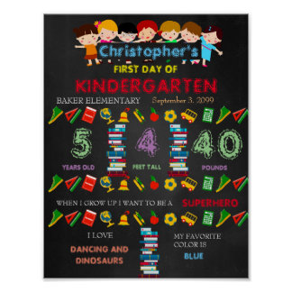First Day of Kindergarten Sign BOY, Black & colors Poster