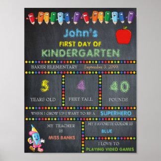 First Day of Kindergarten Sign BOY, Chalkboard