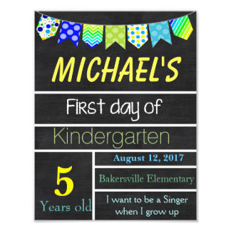 First Day of School Sign, Chalkboard Sign, Signs Photographic Print