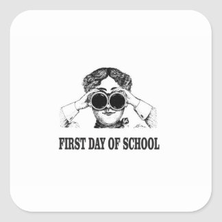first day of school square sticker