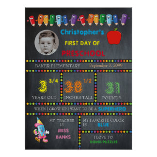 FIRST DAY PRESCHOOL boy,chalkboard sign,photo Poster