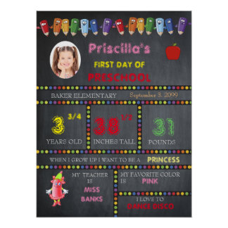 FIRST DAY PRESCHOOL girl,chalkboard sign,photo Poster