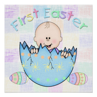 """First Easter Baby Boy Poster (20"""" x 20"""") Perfect Poster"""