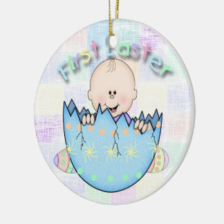 First Easter Baby Boy Round Ceramic Ornament
