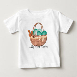 """First Easter, Easter Basket with Eggs Baby T-Shirt"