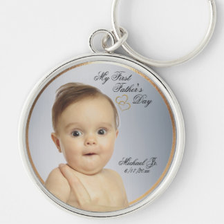 First Fathers Day Round Keychain - Customize Photo