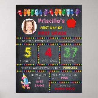 FIRST GRAD Kindergarten girl,chalkboard sign,photo Poster