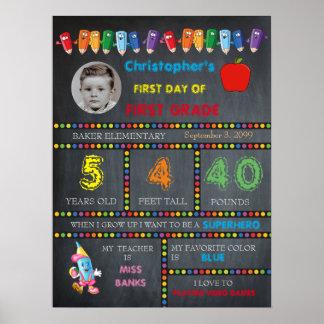 FIRST GRADE Kindergarten boy,chalkboard sign,photo Poster