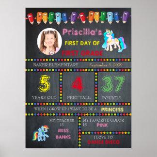 First Grade Kindergarten,chalkboard sign photo Poster