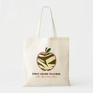 First Grade Teacher Bag - Brown Zebra Print Apple