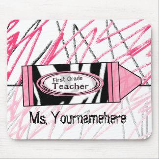 First Grade Teacher Mousepad - Zebra Print Crayon