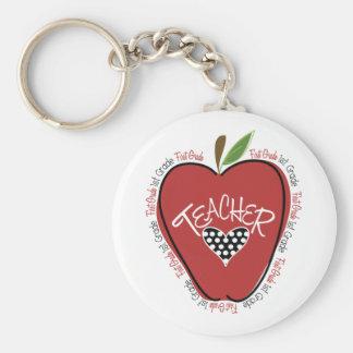 First Grade Teacher Red Apple Keychain