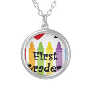 first grade teacher silver plated necklace
