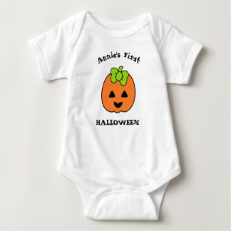First Halloween Cute Pumpkin Baby Bodysuit