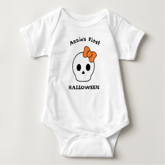 First Halloween Cute Skull Baby Bodysuit