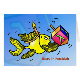 First Hanukkah CARD funny cute fish with dreidel