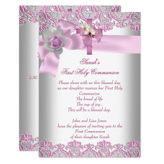 First Holy Communion 1st Cross Girls White Pink Card