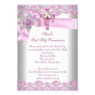 First Holy Communion 1st Cross Girls White Pink Invites