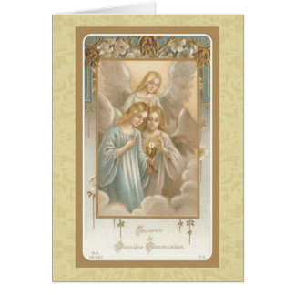 First Holy Communion Angels Eucharist Host Vintage Card