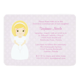 First Holy Communion Blonde Girl Card