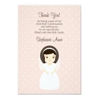 "First Holy Communion Brunette Girl 3.5"" X 5"" Invitation Card"