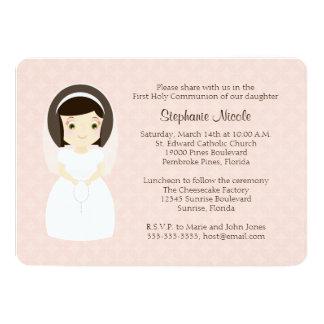 First Holy Communion Brunette Girl Card