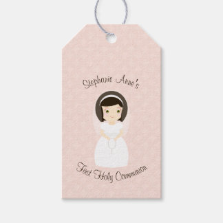 First Holy Communion Brunette Girl Gift Tags