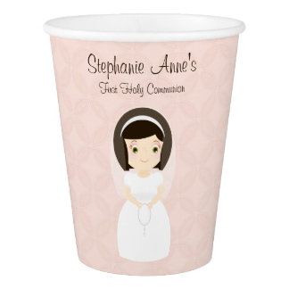First Holy Communion Brunette Girl Paper Cup