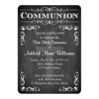 "First Holy Communion | Chalkboard | Cross | Scroll 5"" X 7"" Invitation Card"