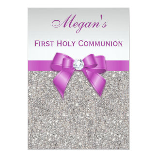 "First Holy Communion Faux Jewels, Bow & Diamond 5"" X 7"" Invitation Card"