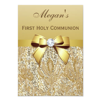 "First Holy Communion Gold Sequins, Bow Diamond 5"" X 7"" Invitation Card"