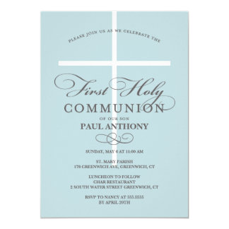 First Holy Communion Invitation Blue