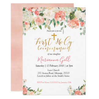 First Holy Communion Invitation Peach Floral