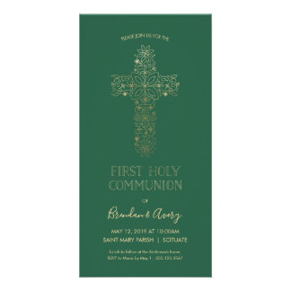 First Holy Communion Invite - Gold, Elegant, Green
