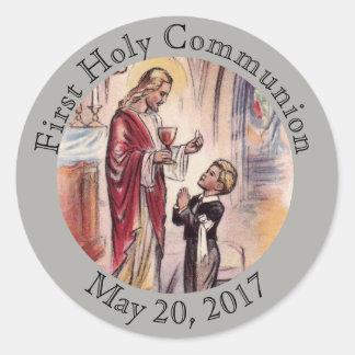 First Holy Communion Jesus Boy Eucharist Classic Round Sticker
