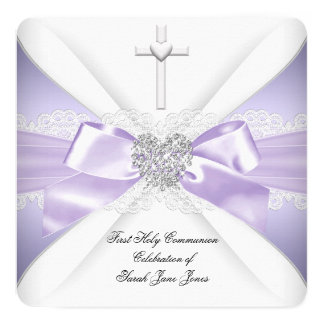 "First Holy Communion Lavender Silver Heart Girl 5.25"" Square Invitation Card"