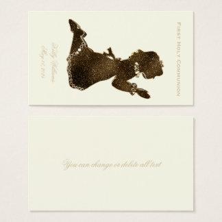 First Holy Communion Praying Girl Gold Elegant Business Card