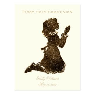 First Holy Communion Praying Girl Gold Elegant Postcard
