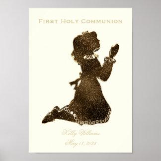 First Holy Communion Praying Girl Gold Elegant Poster
