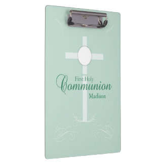 First Holy Communion, Script in Soft Green Clipboard