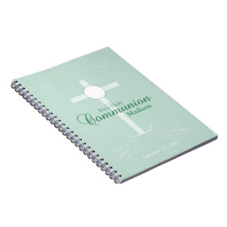 First Holy Communion, Script in Soft Green Notebook