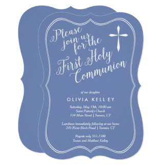 First Holy Communion Tag Frame and Cross, Blue Card