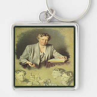 First Lady Anna Eleanor Roosevelt Silver-Colored Square Keychain